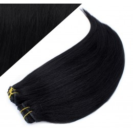 """15"""" (40cm) Deluxe clip in human REMY hair - black"""