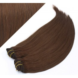 """15"""" (40cm) Deluxe clip in human REMY hair - medium brown"""