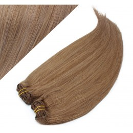 "24"" (60cm) Deluxe clip in human REMY hair - light brown"