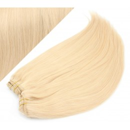 "24"" (60cm) Deluxe clip in human REMY hair - the lightest blonde"