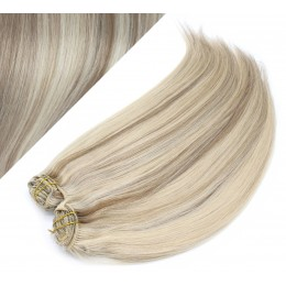 """24"""" (60cm) Deluxe clip in human REMY hair -  platinum / light brown"""