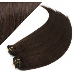 "28"" (70cm) Deluxe clip in human REMY hair - dark brown"