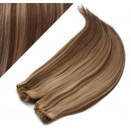 "28"" (70cm) Deluxe clip in human REMY hair - dark brown / blonde"