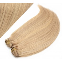 "28"" (70cm) Deluxe clip in human REMY hair - light blonde / natural blonde"