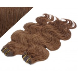 "20"" (50cm) Deluxe wavy clip in human REMY hair - medium brown"