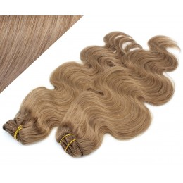 "20"" (50cm) Deluxe wavy clip in human REMY hair - light brown"