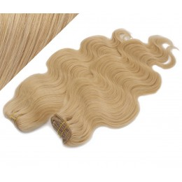 "20"" (50cm) Deluxe wavy clip in human REMY hair - natural blonde"