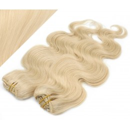 "20"" (50cm) Deluxe wavy clip in human REMY hair - the lightest blonde"