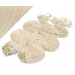 "20"" (50cm) Deluxe wavy clip in human REMY hair - platinum blonde"