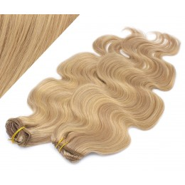 "20"" (50cm) Deluxe wavy clip in human REMY hair - light blonde/natural blonde"