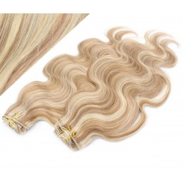 "20"" (50cm) Deluxe wavy clip in human REMY hair - mixed blonde"