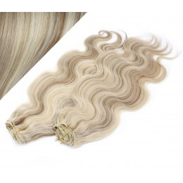 "20"" (50cm) Deluxe wavy clip in human REMY hair - platinum/light brown"