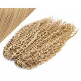 "20"" (50cm) Deluxe curly clip in human REMY hair - light blonde/natural blonde"