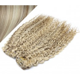 "20"" (50cm) Deluxe curly clip in human REMY hair - platinum/light brown"