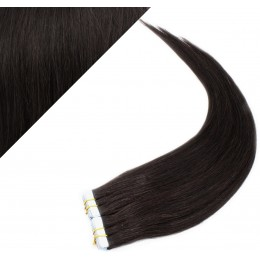 """24"""" (60cm) Tape Hair / Tape IN human REMY hair - natural black"""