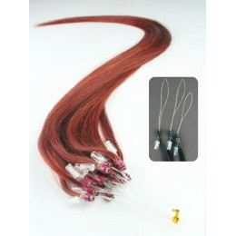 "24"" (60cm) Micro ring human hair extensions - copper red"