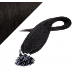 "16"" (40cm) Nail tip / U tip human hair pre bonded extensions - natural black"