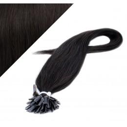"24"" (60cm) Nail tip / U tip human hair pre bonded extensions - natural black"