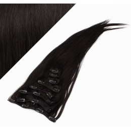 """24"""" (60cm) Clip in human REMY hair - natural black"""