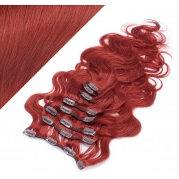 "20"" (50cm) Clip in wavy human REMY hair - copper red"