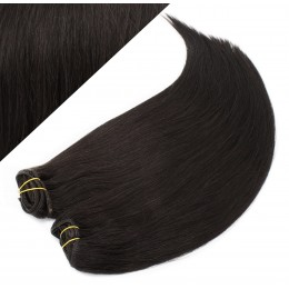 """15"""" (40cm) Deluxe clip in human REMY hair - natural black"""