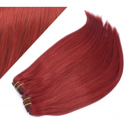 "24"" (60cm) Deluxe clip in human REMY hair -  copper red"