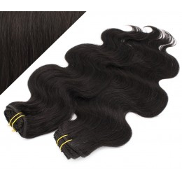 "20"" (50cm) Deluxe wavy clip in human REMY hair - natural black"