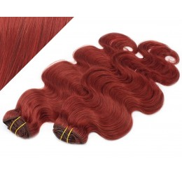 "20"" (50cm) Deluxe wavy clip in human REMY hair - copper red"