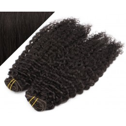 "20"" (50cm) Deluxe curly clip in human REMY hair - natural black"