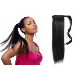 "Clip in human hair ponytail wrap hair extension 20"" straight - black"