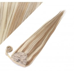 "Clip in human hair ponytail wrap hair extension 20"" straight - mixed blonde"