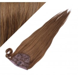 "Clip in human hair ponytail wrap hair extension 24"" straight - medium brown"