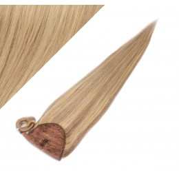 "Clip in human hair ponytail wrap hair extension 24"" straight - natural/light blonde"