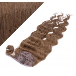 "Clip in human hair ponytail wrap hair extension 20"" wavy - medium brown"