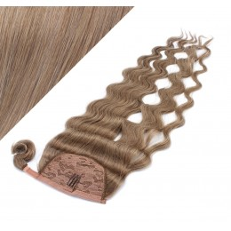 "Clip in human hair ponytail wrap hair extension 20"" wavy - light brown"