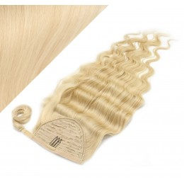 "Clip in human hair ponytail wrap hair extension 20"" wavy - the lightest blonde"