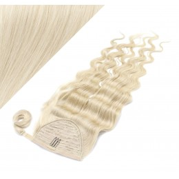 "Clip in human hair ponytail wrap hair extension 20"" wavy - platinum blonde"