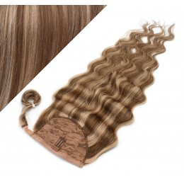 "Clip in human hair ponytail wrap hair extension 20"" wavy - dark brown/blonde"