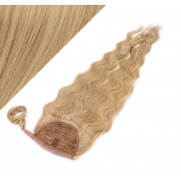 "Clip in human hair ponytail wrap hair extension 20"" wavy - light blonde/natural blonde"
