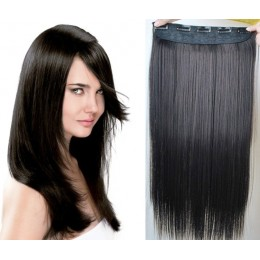 16 inches one piece full head 5 clips clip in hair weft extensions straight – natural black