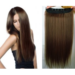 24˝ one piece full head clip in kanekalon weft extension straight – medium brown