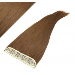 24˝ one piece full head clip in kanekalon weft extension straight – medium brown