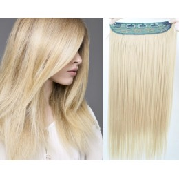 24˝ one piece full head clip in kanekalon weft extension straight – platinum
