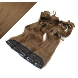 24˝ one piece full head clip in kanekalon weft extension wavy – medium brown