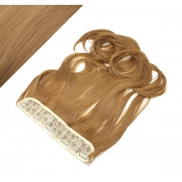 24˝ one piece full head clip in kanekalon weft extension wavy – light brown