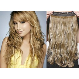 24˝ one piece full head clip in kanekalon weft extension wavy – mixed blonde