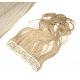 24˝ one piece full head clip in kanekalon weft extension wavy – platinum / light brown