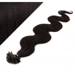 "20"" (50cm) Nail tip / U tip human hair pre bonded extensions wavy – natural black"