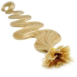 "20"" (50cm) Nail tip / U tip human hair pre bonded extensions wavy – natural blonde"