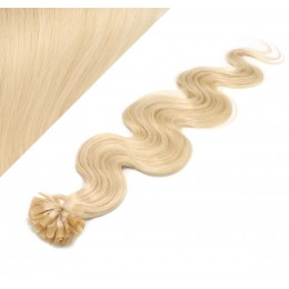 "20"" (50cm) Nail tip / U tip human hair pre bonded extensions wavy – the lightest blonde"